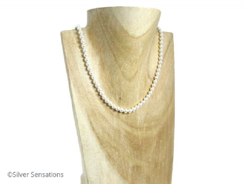 Elegant White Swarovski Pearls & Sterling Silver Handmade Wedding Necklace
